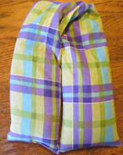 Purple Green Plaid Shoulder Flax Seed Aromathapy Herb Pillow Hot or cold use
