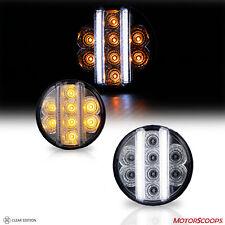 Fit for Wrangler JK Switchback LED DRL Bar Turn Signal Lights Clear/Chrome LH RH