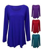 New Women Ladies Casual Plain Long Sleeve Scoop Neck Top T-shirt Plus Size 14-32