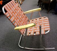 Vintage Aluminum Rocking Chair Orange Webbed