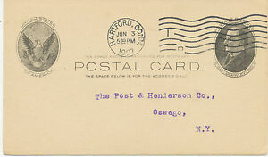 "USA 1907 One Cent McKinley superb postal stationery postcard ""HARTFORD, CONN."""