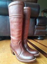 FRYE Woman's Riding Boots Brown Leather Cowboy Western Pull On Knee High Size 7B