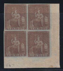 Trinidad, Scott 1 (SG 8), MNH/HR block of four, bottom right sheet margin