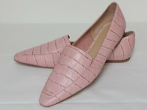Marc Fisher Enaba Pink Croco Loafer Leather Slip On Flats Square Toe Sz 9.5M