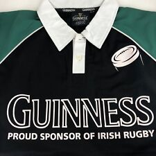 Guinness Beer Large Polo Shirt Irish Rugby Black Green Casual Short Sleeve Pint