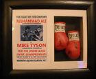 Muhammad Ali Vs Mike Tyson Fantasy Match Mini Signed Boxing Gloves Framed