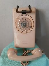 Vintage Rotary Dial mount Phone peach tan beige 1970s kitchen telephone USA