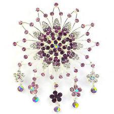 Nuptiale mariage cristal Strass Améthyste Violet Fleur Star cheveux peigne diapositive hc39