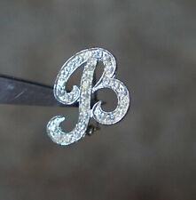 Rhinestones - Silver Tone Metal Vintage Brooch - Letter B W/