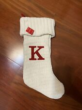 """Holiday Mongrammed Knitted Creme Stocking Letter """"K"""" From Target"""
