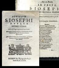 1672 Madrid Spain Saint Joseph's Day March 19 Clemens X Officivm S. Iosephi