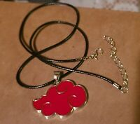 "Naruto Akatsuki Red Cloud Necklace Anime Cosplay Pendant 1.5"" US Seller"
