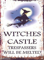 WITCHES CASTLE TRESPASSERS  METAL SIGN VINTAGE STYLE 8x10in 20x25cm pub bar shop