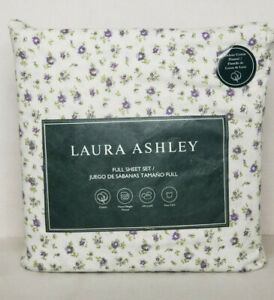 Laura Ashley Petite Fleur Floral Purple 100% Cotton Flannel Full Sheet Set NEW
