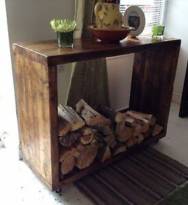 A custom made Lehon log store/side unit/TV stand