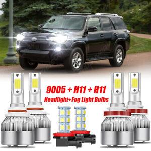 For Toyota 4Runner 2010-2020 - 6x LED Headlight Bulbs Hi/lo Beam+Fog Light Combo