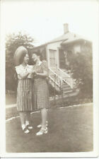 #763P Vintge Photo Two Young Women Summer Dresses Sombrero Holding Hands