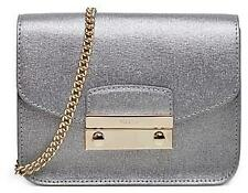 FURLA Julia Mini Silver metallic Crossbody bag not metropolis messenger Genuine
