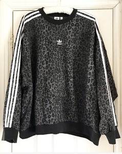 Adidas Originals Leopard Print Sweatshirt Oversized Grey Black Plus Size UK 20