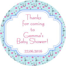 Baby Shower, battesimo personalizzata grazie, Festa ADESIVI Gloss, Blu Stork