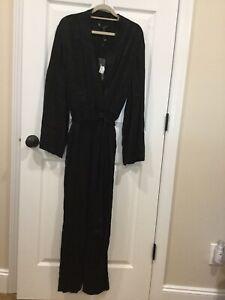 BCBG Max Azria Womens Black Printed Surplice Neck Jumpsuit Medium