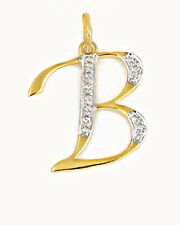 B Initial Diamond Pave Pendant 14K Yellow Gold Charm Necklace Fine Gift Jewelry
