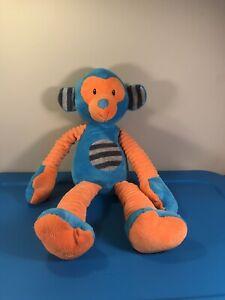 "Mary Meyer Monkey Plush Blue & orange Different Textures stuffed toy 21"""
