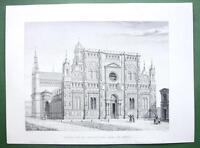 ARCHITECTURE PRINT : Italy Certosa Monastery at Pavia Engraving