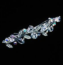USA BARRETTE Hair Clip using Swarovski Crystal Hairpin Bridal Silver Clear 03