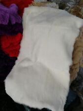 100% Rabbit Fur Blanket Rug Throw Spread Skin Plate Collar Carpet White 22�X 44�