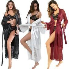 Women Silk Satin Kimono Long Nightdress Gown Bridesmaid Robe Sleepwear Nightgown
