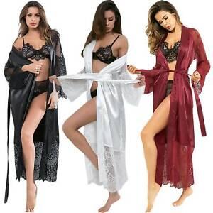 Women Night Dress Silk Satin Pajama Long Robe Wedding Sleep Robe Sexy Nightwear