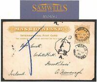 RHODESIA Cover BSACo Kopje MINING Mashonaland 1899 Card NATIVE RUNNER MAIL M4065