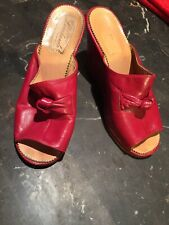 Vintage Italian 1960's Red Leather Heel Pumps Sandles Creazioni Lombardo Size 5f