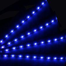 4pc Blue 15 LED 30cm Car Auto Grill Flexible Waterproof Strip Atmosphere Light