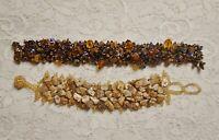 VINTAGE STONE SHELL & GLASS BEADED BOHO BEACH BRACELET LOT 7 INCH