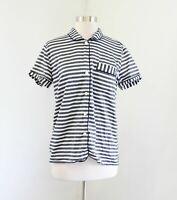 J Crew Blue White Striped Short Sleeve Button Sleep Set Shirt Top Size S