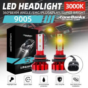 1Pair 9005/HB3 LED CSP Headlights Bulbs Kit High Beam 100W 40000LM 3000K Lamps