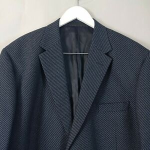 M&S Collezione Mens Blazer Jacket 48 L Blue Wool Silk Textured Smart Casual