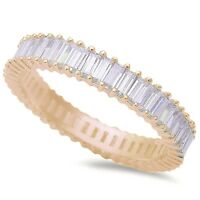 Yellow Pltd Baguette Wedding Eternity Band 925 Sterling Silver Ring Size 4-11