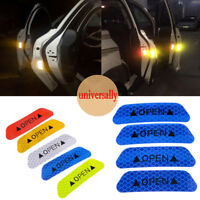4pcs Car Auto Door Open Reflective Sticker Tape Safety Warning Decal Sign Blue