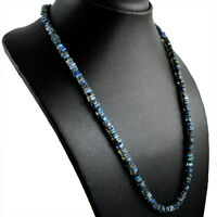 123.50 CTS NATURAL BLUE FLASH LABRADORITE 20 INCHES LONG UNHEATED BEADS NECKLACE