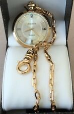 Elgin Diamond Gold Pocket Watch Silver Dial Easy to Read With Chain New in Box!