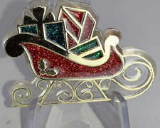 Christmas Sleigh with Gifts HALLMARK CARDS 1985 Vintage Pin Brooch D-9432