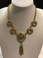 Vintage Lerritz Gold Tone Diamanté Drop Necklace