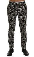 IT50 NEW $980 DOLCE /& GABBANA Pants White Black Striped Linen Casual s W36