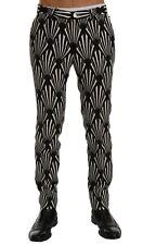 Dolce & Gabbana Black White Slim Fit Hemp Linen Pants