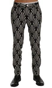 NEW $960 DOLCE & GABBANA Pants Black White Slim Fit Hemp Linen s. IT46 / W32