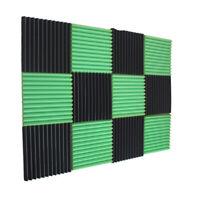 12 Green Charcoal Wedge Studio Foam Soundproofing Foam Wall Panels Tiles 1X12X12