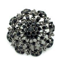 Vintage Style Round Black Rhinestones Flower Decoration Brooch Pin BR273